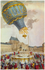 The first un-manned hot-air balloon, designed by the Montgolfier brothers, takes off from Versailles, on September 19, 1783.